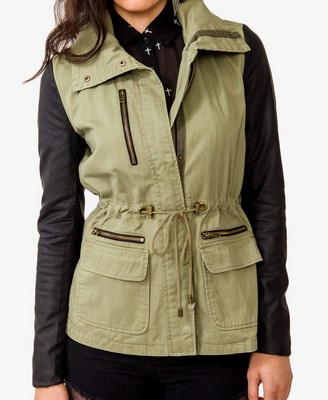 Military Coat with Faux Leather Sleeves