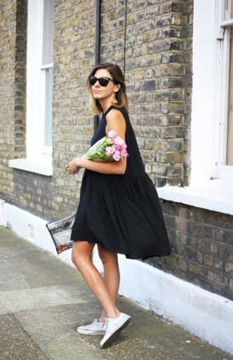 Black Dress with Chucks