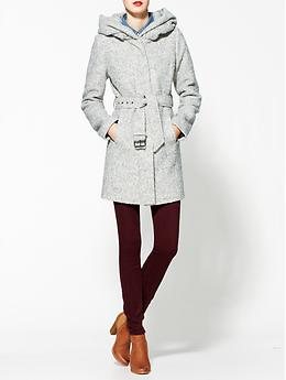 Ava Collared Coat - Heather gray boucle