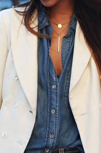 White Blazer and Chambray Shirt