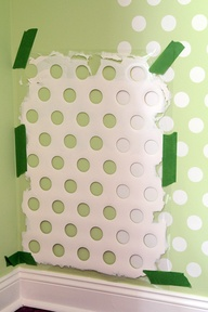 Polka Walls! DIY, use laundry basket.
