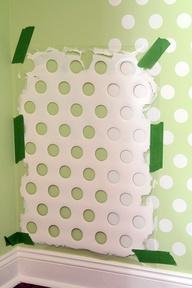 Polka Walls! DIY, use laundry basket.