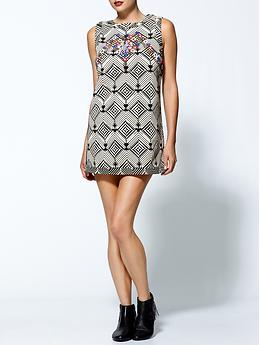 Mod Squad Ethnic Mini Dress - Black/white