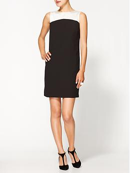 Two Tone Shift Dress - Black