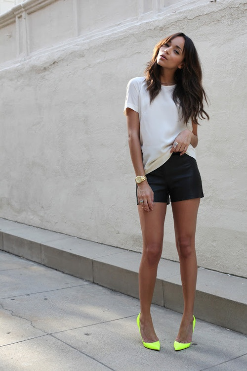leather shorts and pop of neon
